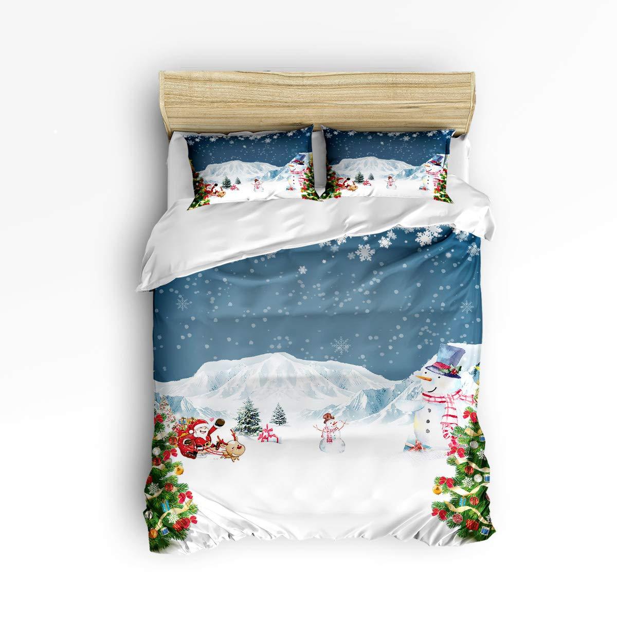 NewThangKa 3ピース寝具セット – ソフトダウン掛け布団キルト寝具カバー1枚 お揃いの枕カバー2枚 ファスナー開閉 クリスマスシンボルクリスマスパターン寝具布団カバーセット Twin Size WSJ-181122-3pcsets-SWTQ00308SJSANTK B07L85Y271 Snowman20ntk4390 Twin Size