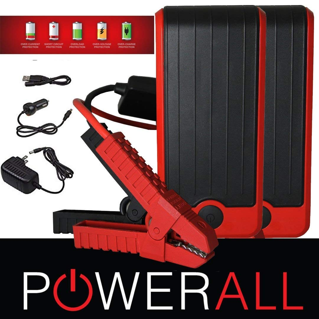 PowerAll SUPREME PBJS16000RS 600 Amp 16,000 mAh Portable Lithium Jump Starter, Power Bank, LED Flashlight Red/Black (2 PACK) by PowerAll