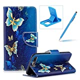 Leather Case for iPhone 7 Plus,Flip Wallet Cover for iPhone 8 Plus,Herzzer Stylish Luxury Butterfly Pattern Magnetic Closure Purse Folio Smart Stand Cover with Card Cash Slot Soft TPU Inner Case for iPhone 7 Plus/iPhone 8 Plus 5.5 inch + 1 x Free Blue Cellphone Kickstand + 1 x Free Blue Stylus Pen