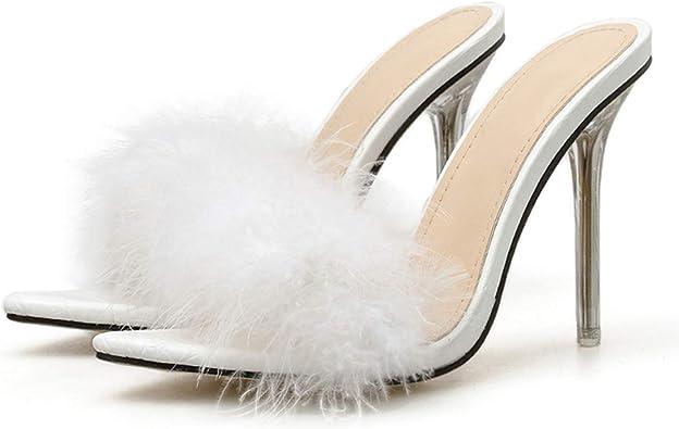 DDDatian PVC White Fluffy Feather
