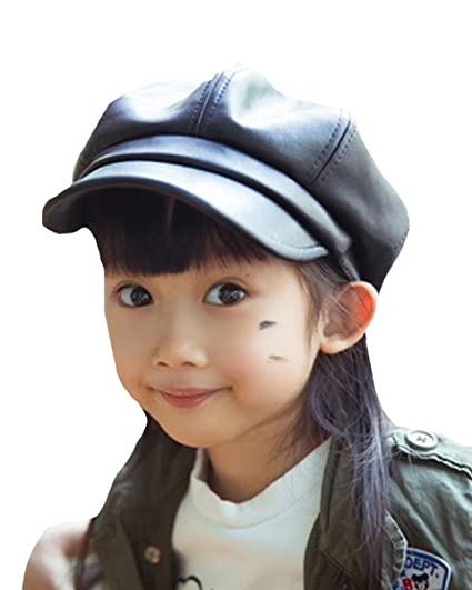 Faux Leather Peaked Baseball Beret Cap with Back Elastic for Little Girls  Black 7f36a31b257