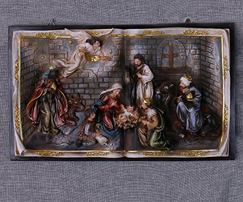 19-Inch Christmas Nativity Scene Wall Hanging Plate Décor Stable Baby Jesus Resin Book-Shaped Cameo