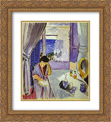 Woman Reading Matisse - Henri Matisse 2x Matted 20x24 Gold Ornate Framed Art Print 'Woman Reading at a Dressing Table (Interieur, Nice) '