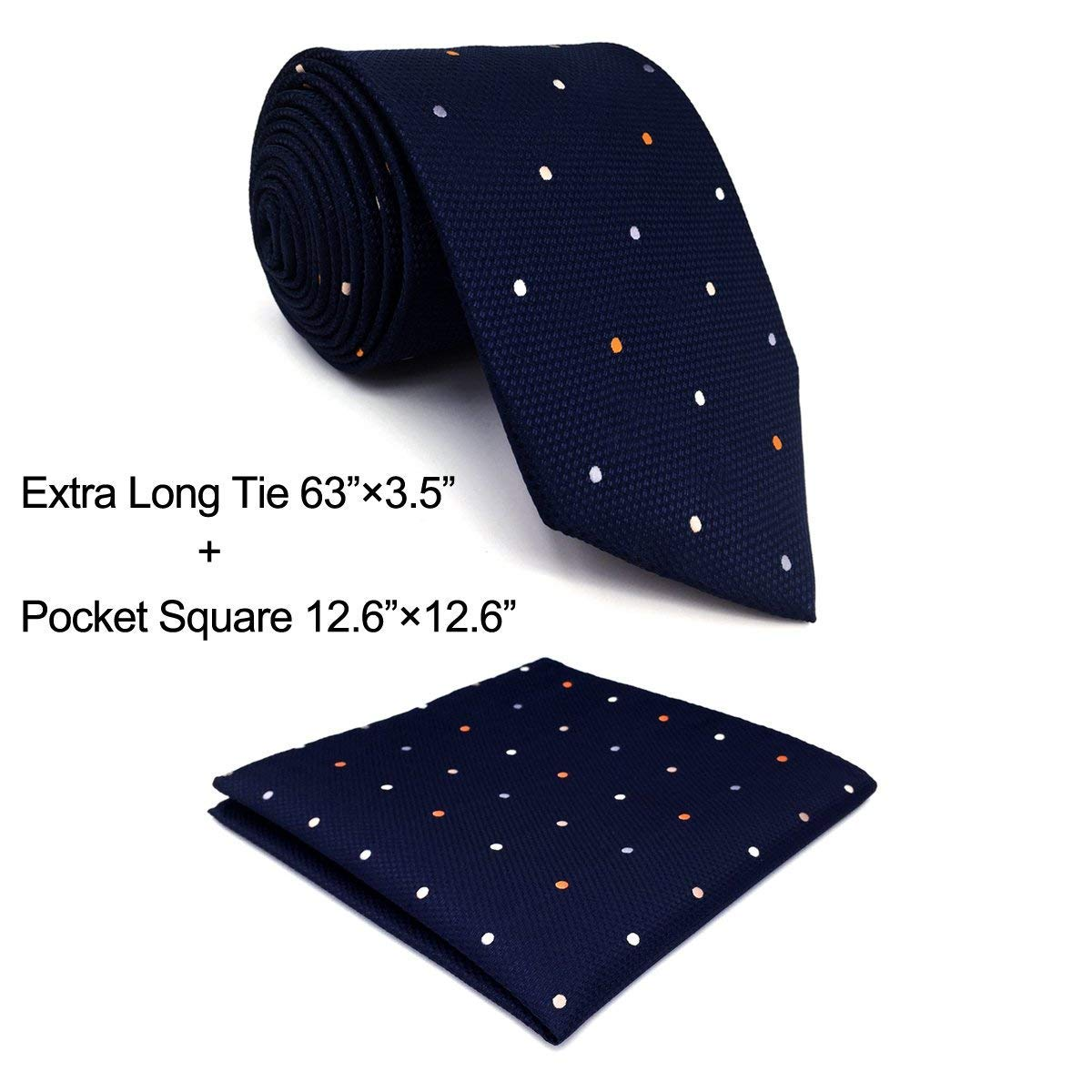Shlax&Wing Dots Blue Navy Mens Neckties Tie Set Business Silk Dotty Shlax & Wing D12-H