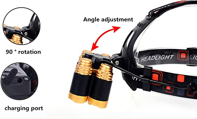 Portable 80000LM 5 LED Rechargeable 18650 Headlamp Headlight Torch Focused Light