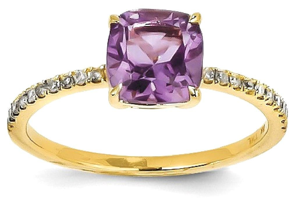 ICE CARATS 14k Yellow Gold Diamond Purple Amethyst Square Band Ring Size 7.00 Stone Gemstone Fine Jewelry Gift Set For Women Heart