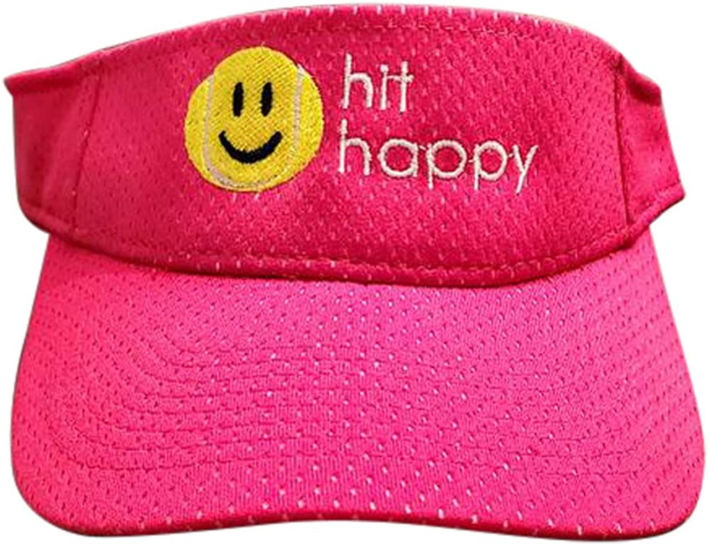 Tennis Happies Tennis Visor Hit Happy, Adjustable Strap, Perfect for On The Court Or Off (Pink), One Size: Clothing