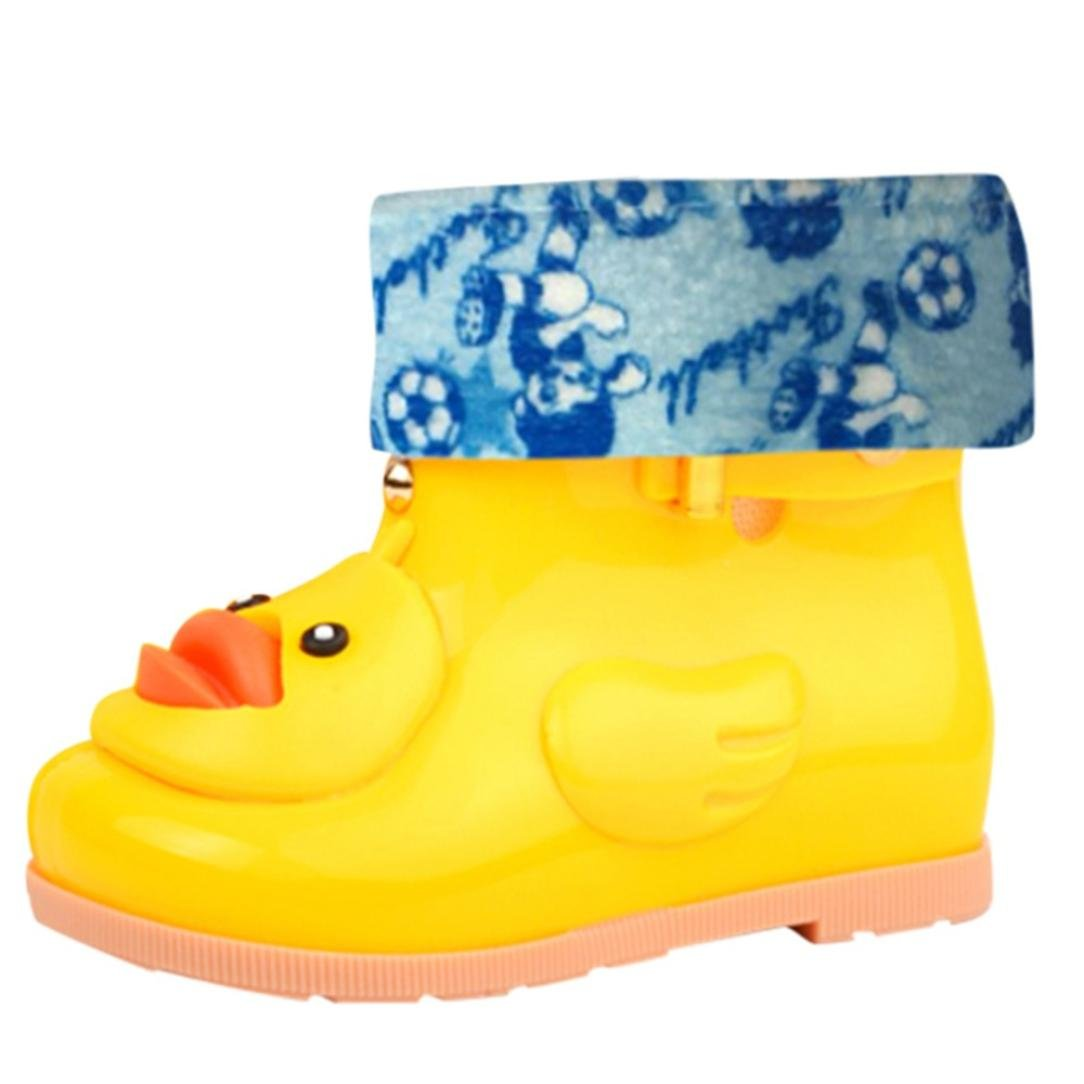 Children Rain Boots, SUKEQ Toddler Cute Cartoon Duck Classic Wellies Shoes Rubber Waterproof Ankle Boots Winter Warm Booties for Little Kids Girls Boys (Age:3-4T, Yellow)