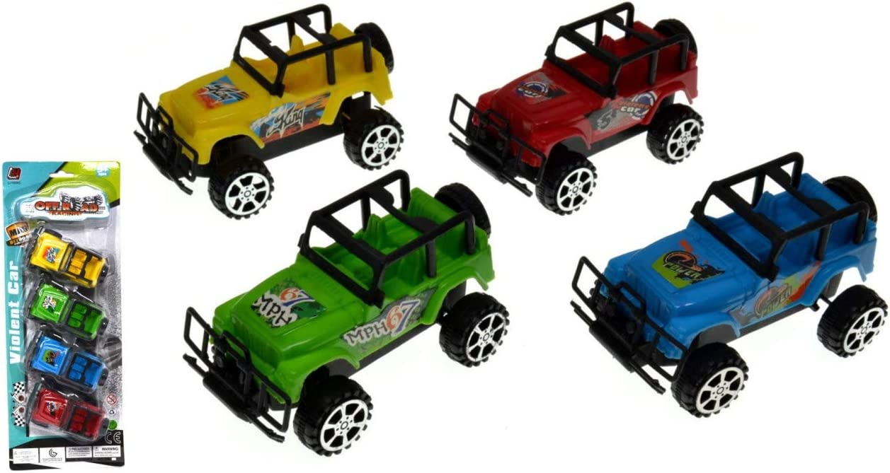 VENTURA TRADING Paquete de 4 Jeeps 4x4 Fuera del Camino Carros de Juguete Todoterreno Carros de Juguete Coches de Carreras Juego Coche Modelos