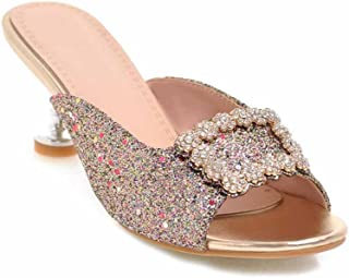 Femmes Strass Print Slippers Carré Bouton T-sangle Mules Talons hauts Taille 40-43