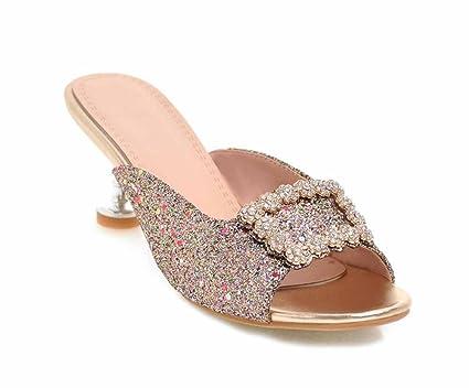6662e6580b35 Women Rhinestone Print Slippers Square Button T-strap Mules High Heels Size  40-43