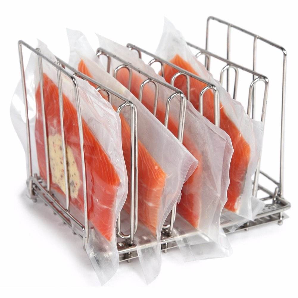 DAVEVY Food Making Cooking Bacon Holder Crisper Food Frame For Immersion Vacuum Rack Pouch Stainless Steel Circulators Modern Browning Crisper Stand (Silver)