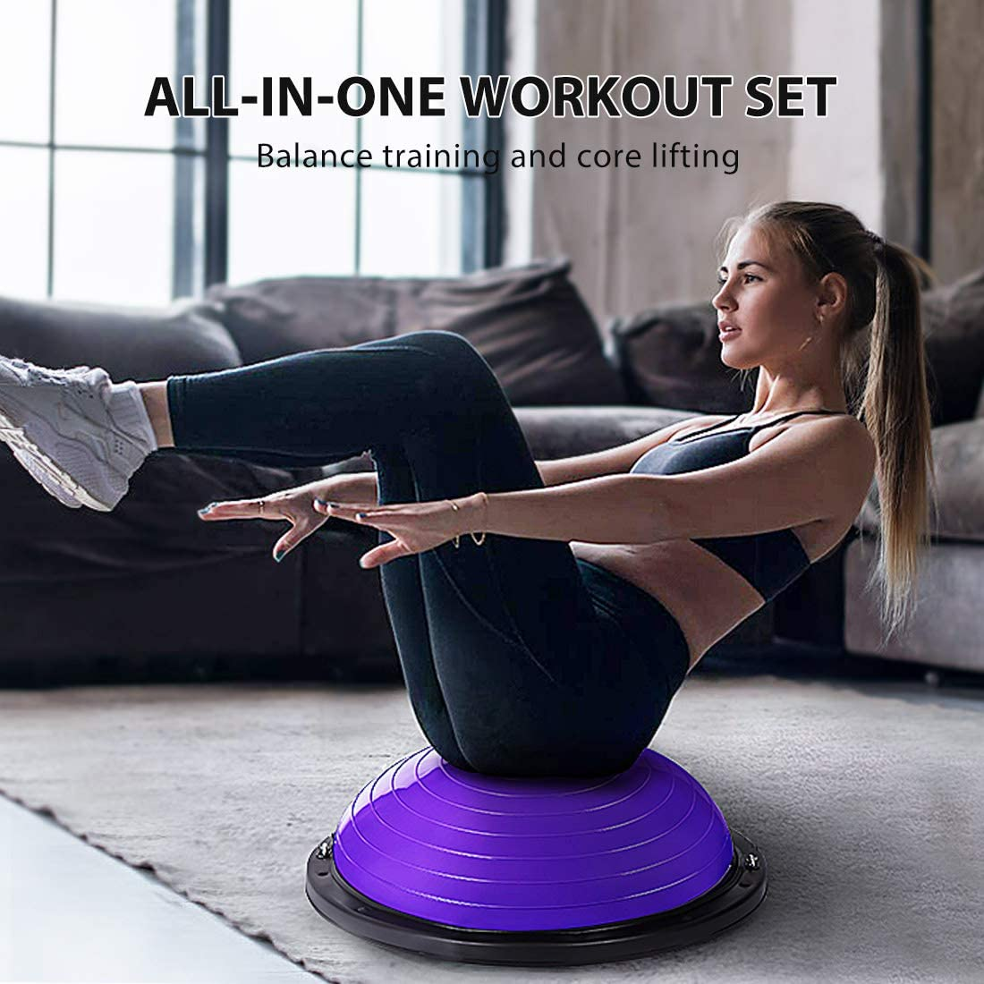 VIVOHOME 58cm Anti Slip Half Balance Ball Trainer Yoga Exercise Ball with Resistance Bands Bonus Foot Pump for Yoga Fitness Strength Exercise Home Gym Supports up to 770LBS Core Training