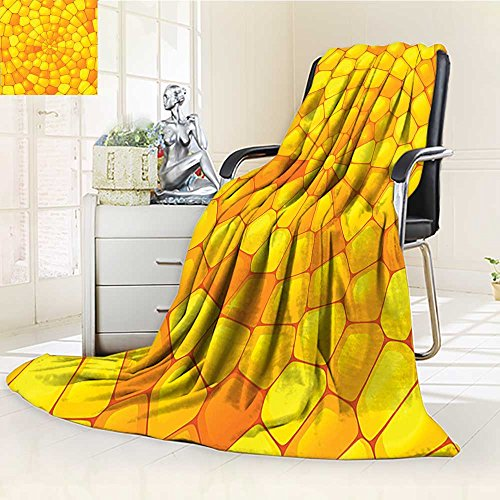 YOYI-HOME Fleece Duplex Printed Blanket 300 GSM Yellow Stained Irregular Glass Mosaic Patterns Crystal Light Orange Yellow Reversible Super Soft Warm Fuzzy Bed Blanket /W59 x H47 Boston Red Sox Stained Glass