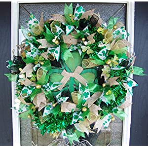 Festive and Beautiful St. Patricks Day Deco Mesh Front Door Wreath, Outdoor Indoor Porch Patio Wall Decor, Spring Decoration, March Shamrock 19
