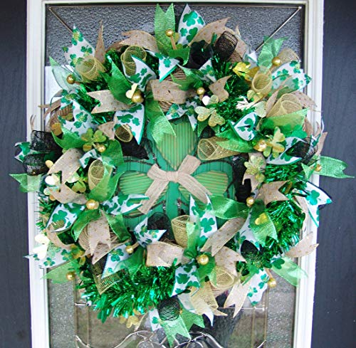 Festive and Beautiful St. Patricks Day Deco Mesh Front Door Wreath, Outdoor Indoor Porch Patio Wall Decor, Spring Decoration, March Shamrock