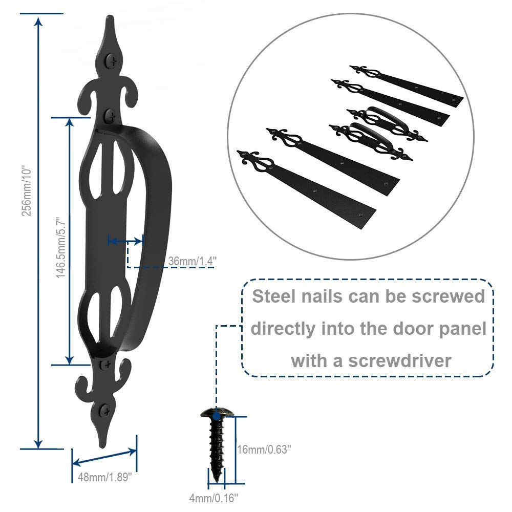 1 juego de tiradores de madera de color negro para puerta de grano para el caj/ón de armario de muebles de cocina de puerta
