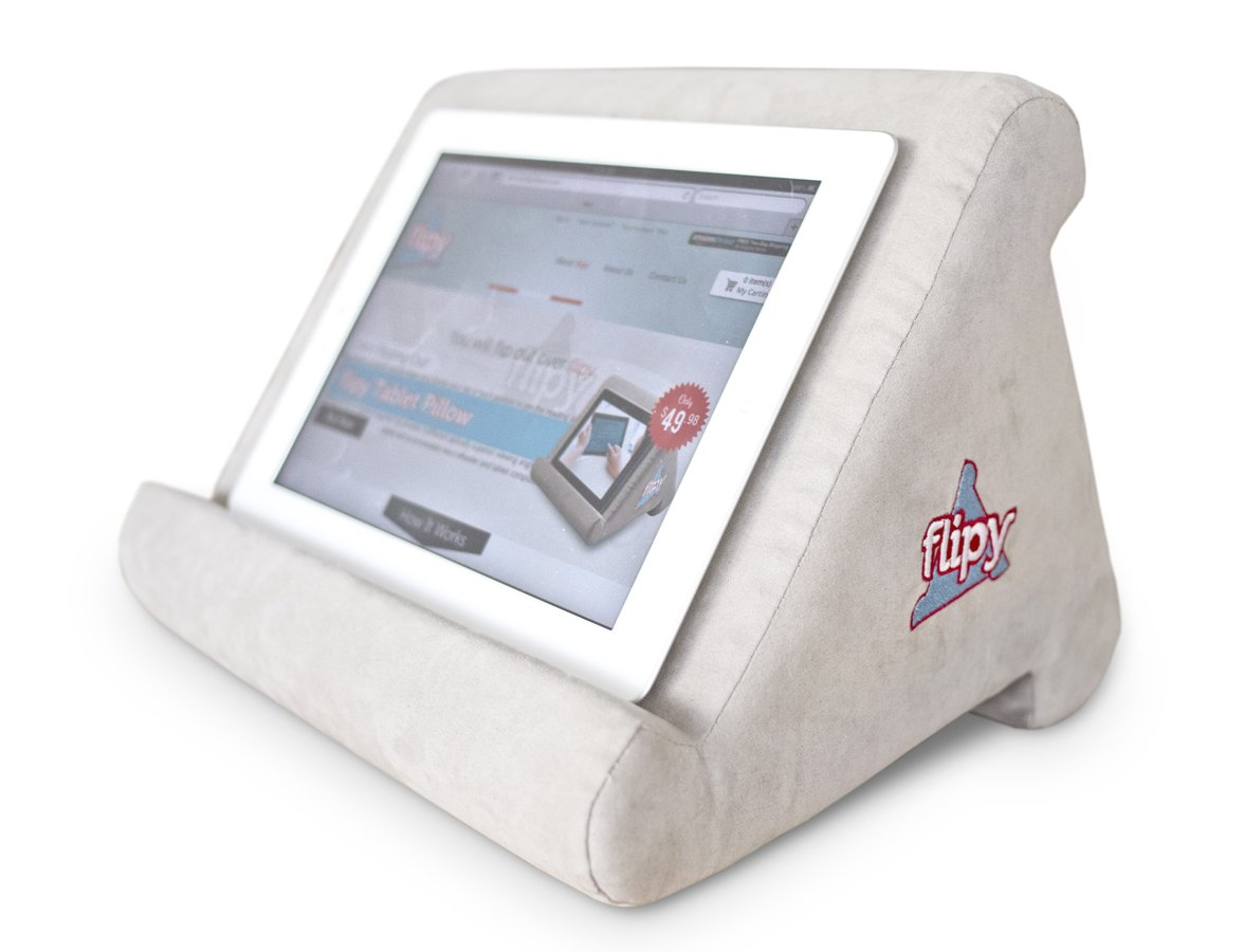 Flipy Multi-Angle Soft Pillow Lap Stand for iPads, Tablets, eReaders, Smartphones, Books, Magazines (Grey)