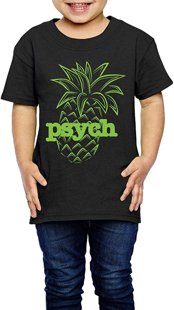 XYMYFC-E Psych Pineapple 2-6 Years Old Kids Short Sleeve T Shirt