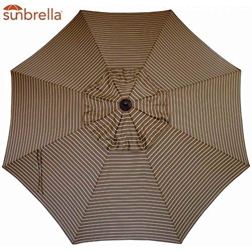 Sunbrella Replacement Canopy Umbrella Sunshade Canopy Top 9 Ft 8-Rib Outdoor Patio Umbrella Non Faded Sunbrella Fabric UV Protection Sunbrella, Cocoa Stripe
