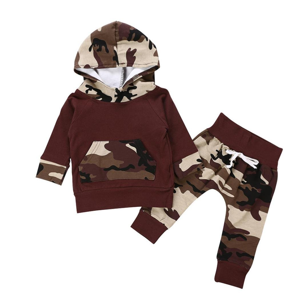 Jchen(TM) Hot Sales! 2PCS Toddler Baby Little Boys Camouflag Print Long Sleeve Hoodie Tops+Camouflage Pants Outfits for 0-24 Months (Age: 12-18 Months)