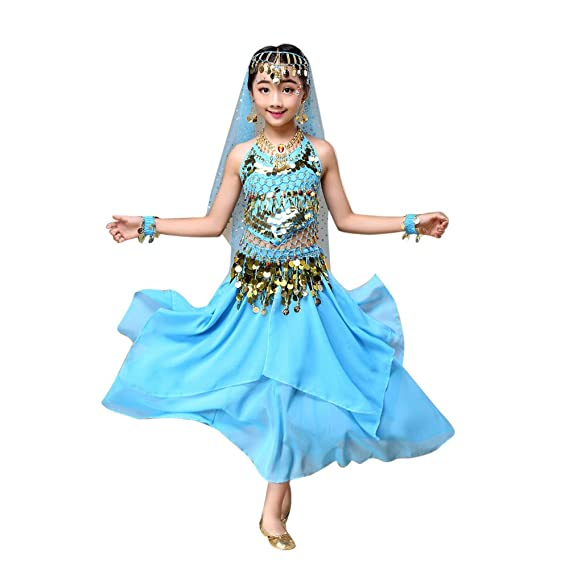 Feixiang Disfraz de Danza del Vientre para niños Vestido Tops + Falda de niñas Ropa de niños Vestidos para niños Disfraces de Danza del Vientre Trajes de ...