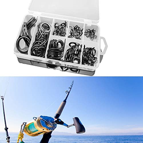 Stablebusi 75pcs Durable Portable Stainless Steel Fishing Rod Guide Tip Repair Kit Eye Ceramic Ring Tackle