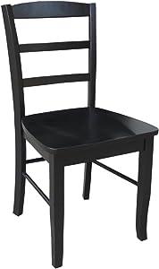 International Concepts Pair of Madrid LadderBack Chairs, Black