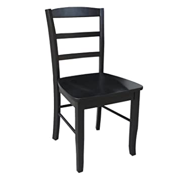 International Concepts C46 2P Pair Of Madrid LadderBack Chairs, Black