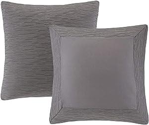 N Natori Hanae Cotton Blend Yarn Dyed Euro Sham Grey 26x26
