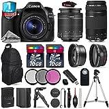 Canon EOS 80D DSLR Camera + Canon 18-55mm IS II Lens + Canon 75-300mm Lens + 0.43X Wide Angle Lens + 2.2x Telephoto Lens + Backup Battery + 32GB Kit + Table-Top Tripod + UV- International Version