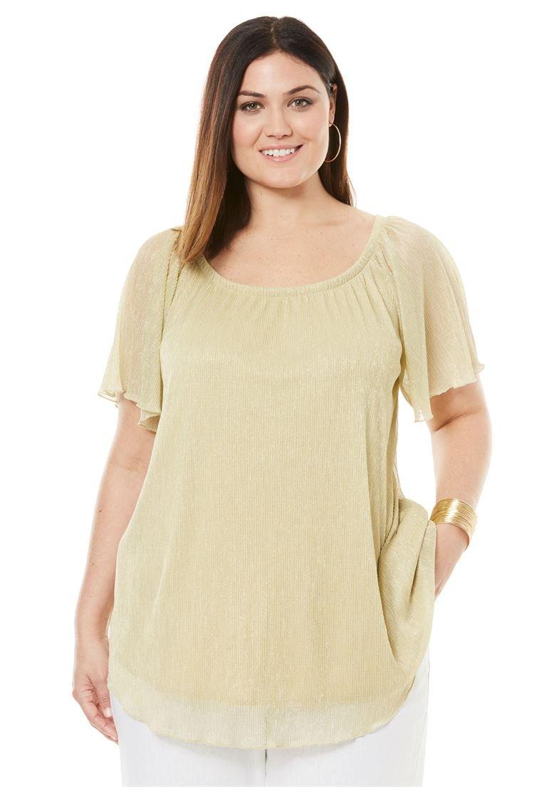Jessica London Women's Plus Size Metallic Crinkle Top Gold,22/24