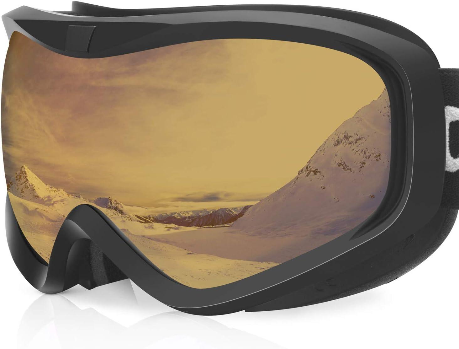 devembr OTG Ski Goggles Clear, Snowboard Goggles Anti-Fog, 100 UV Protection, Anti-Slip Strap, Helmet Compatible Snow Goggles for Men Women, Skiing Snowmobile Skating Black White Frame