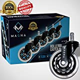Magna Office Chair Wheels 3'' (Set of 5), Heavy Duty Replacement Rubber Office Chair Caster, Rollerblade Chair Wheels, Universal Fit, Desk Chair Casters, Silicone Wheels to Protect Hardwood floors!