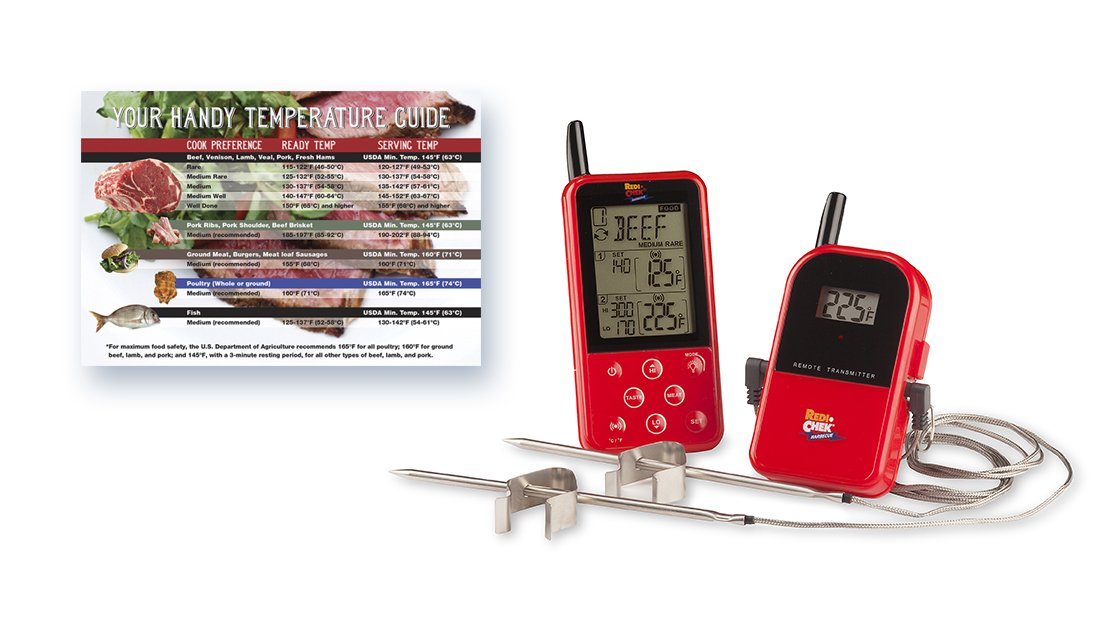 Maverick ET-733 Long Range Digital Wireless Meat Thermometer Set Dual Probe and Dual Temperature Monitoring With Meat Temperature Magnet Guide - Red