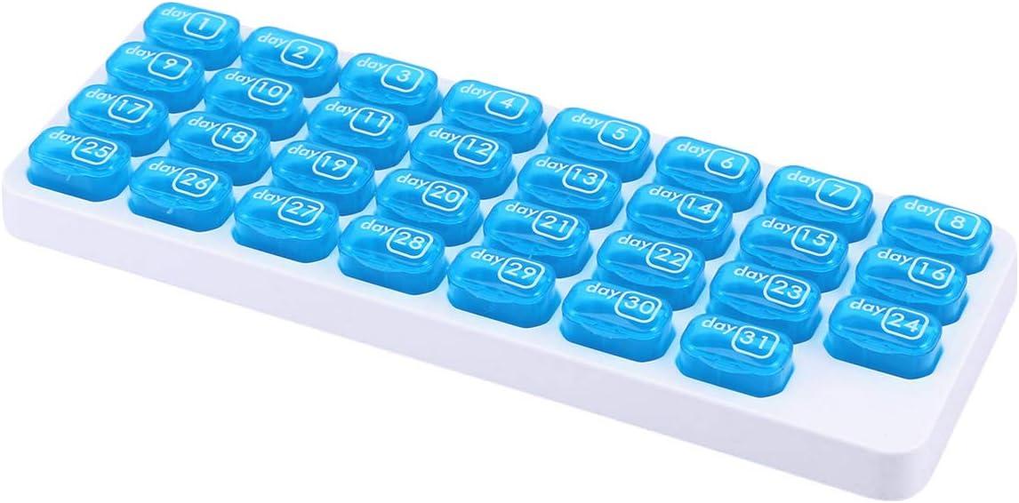 OUNONA Pastillero Mensual 31 Días 1 Toma Plástico para Viajes Uso Diario (Azul)