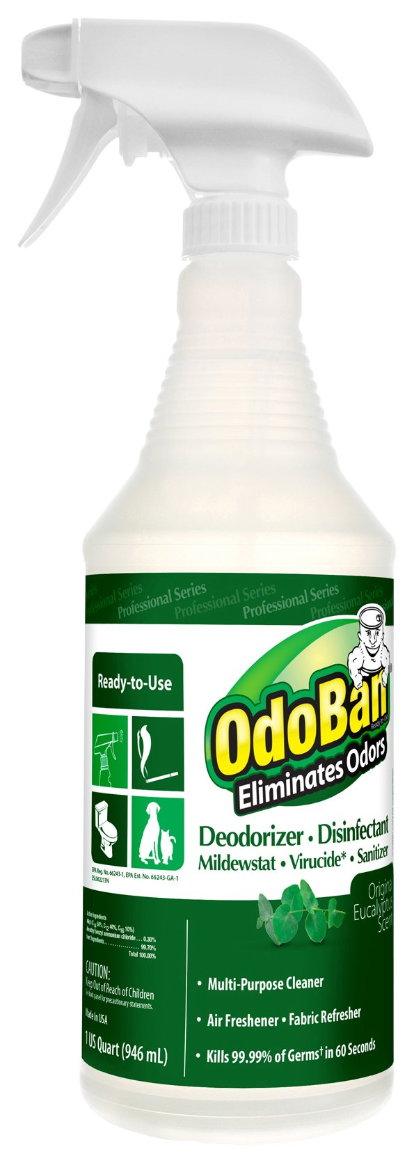 OdoBan 910062-QC12 Ready-to-Use All Purpose Cleaner and Disinfectant Odor Eliminator, Eucalyptus Scent, 32 oz. (Pack of 12) by OdoBan
