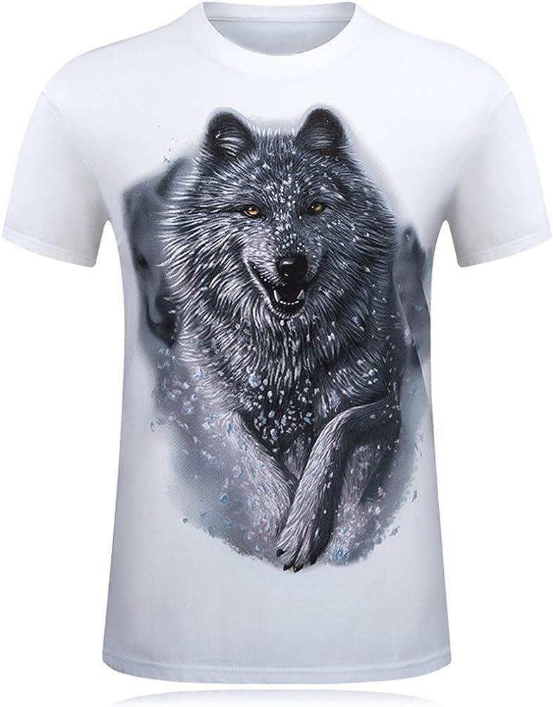 Cayuan Camisetas da Manga Corta Hombre 3D Lobo Animal Graphics Imprenta tee Shirt Verano Loose O Neck Tops Club: Amazon.es: Ropa y accesorios