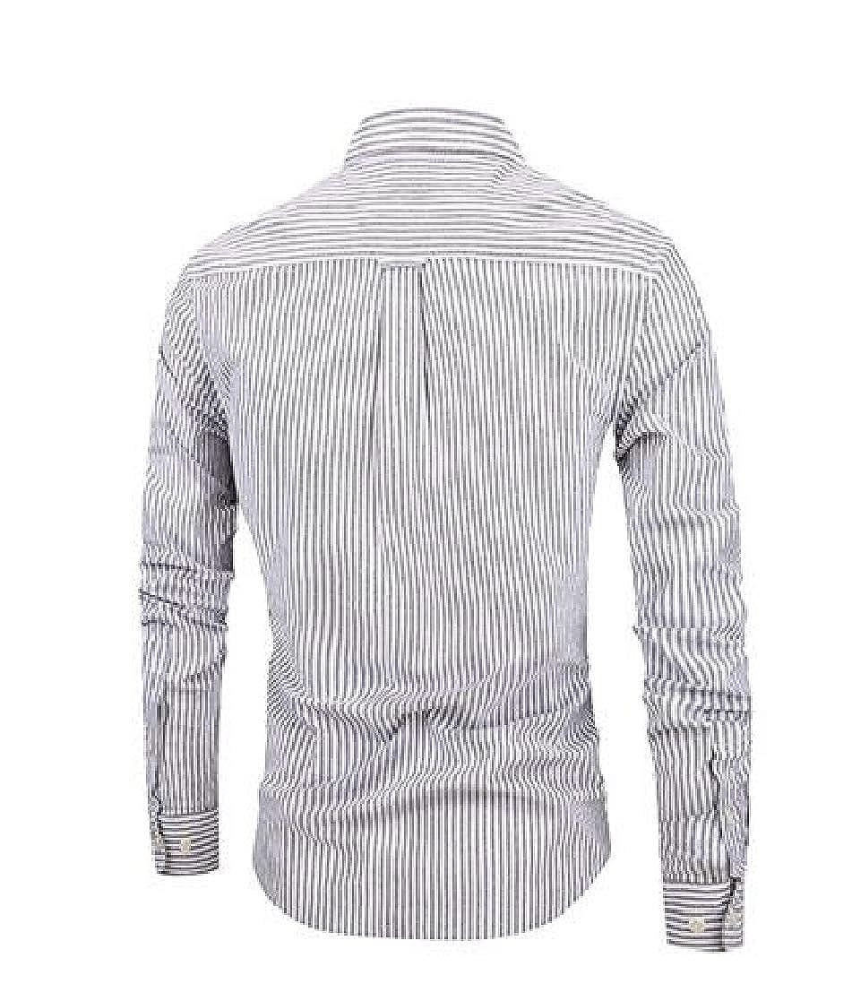 Macondoo Mens Long-Sleeve Classic Slim Button-Down Striped Shirts