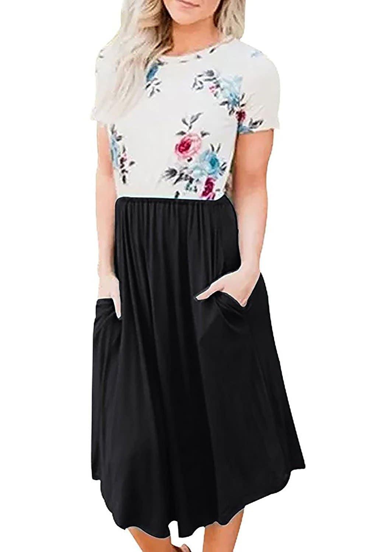 9ed7228b55b14 Design: Round Neck, Short Sleeve, Elastic Waist, Floral Print,Swing Midi  Dress,Patchwork Design, Two Side Pockets, A-line Style