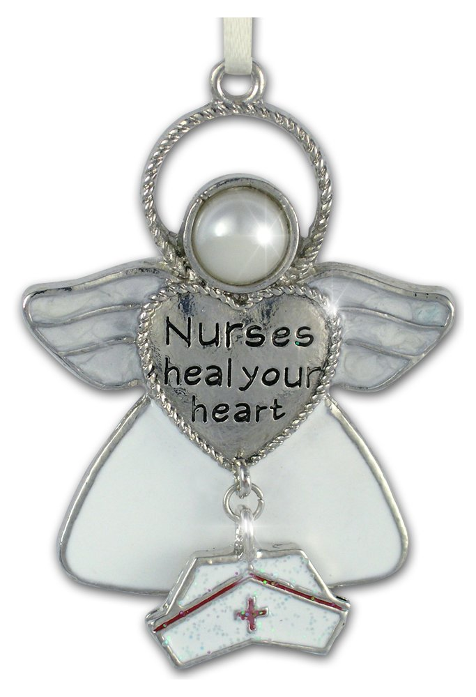 Nurse Ornament with Message Angel Charm Inscription: Nurses Heal Your Heart