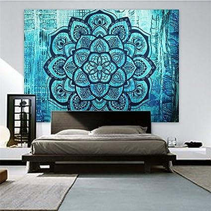 Amazon.com: Blue Lotus Decor Yoga Tapestry Wall Hanging Ethnic ...