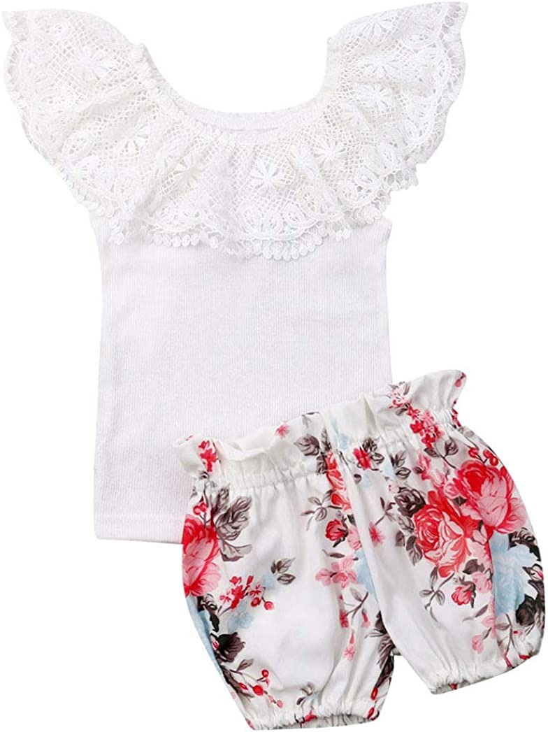 Newborn Infant Baby Girl 2pcs Floral Clothes Tops Dress Shorts Pants Outfits Set