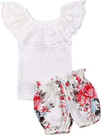 Baby Girl Clothes Off-Shoulder Romper Floral Ruffle Lace Dress Toddler Newborn Summer Outfit Shorts Set Bathing Suit Swimsuit