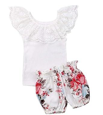 9aa0e11e430e Newborn Baby Girls Off Shoulder Lace Tops Shorts Dress 2Pcs Party Outfit  Set Clothes (0