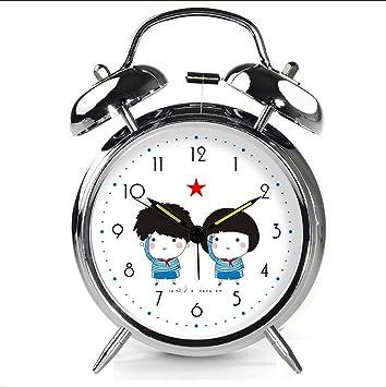 Xifande Reloj De Alarma Silencioso De Dibujos Animados Simple Tono De Llamada De Gran Tonelaje Perezoso Reloj De Asiento Decoración del Hogar 4 Pulgadas ...