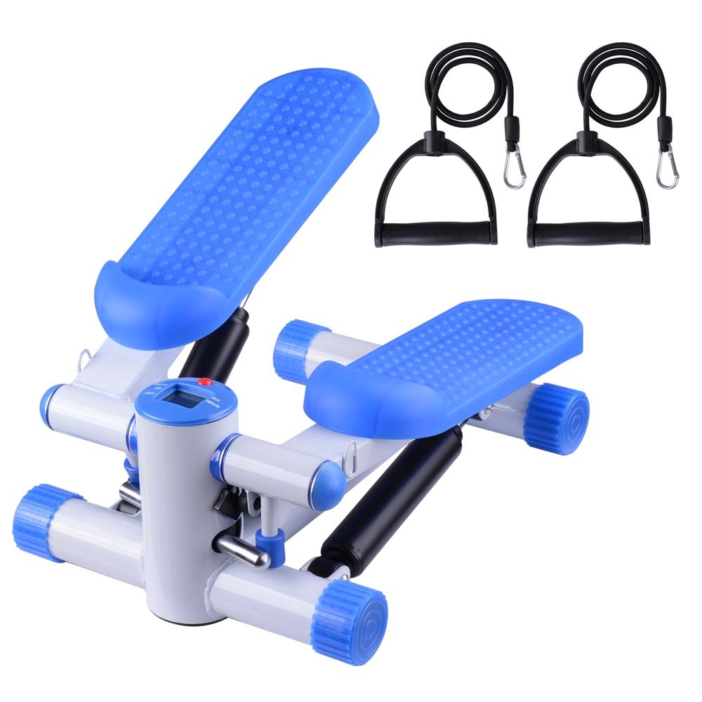 Air Stair Climber Step Exercise Fitness Machine w/Bands Aerobic Equipment Blue