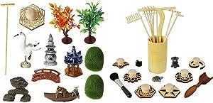Deluxe Zen Garden Accessories kit - Zen Garden Rake Stamp Tools Set - Meditation Rock Sand Garden Accessories