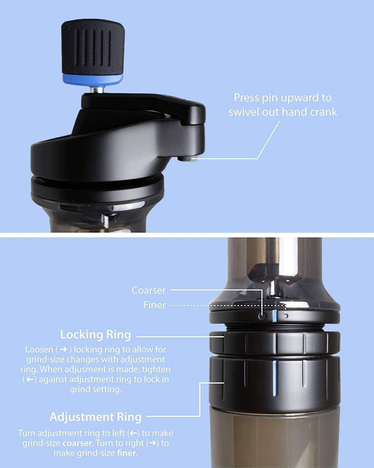 Lido E-T Manual Coffee Grinder | Designed Especially for Espresso | 48mm Swiss Conical Steel Burrs | Stepless Grind Adjustment