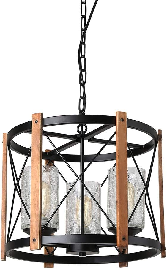 Eumyviv Wood Farmhouse Rustic Chandelier with Crack Glass, Dinning Table 3 Lights Vintage Industrial Hanging Light, C0030